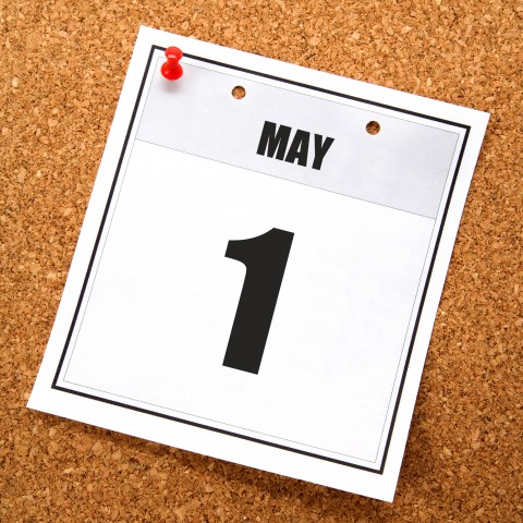 A Calendar Page that Shows May 1