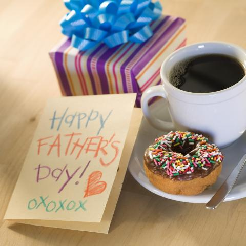 Breakfast, Gift, and Card on Father's Day