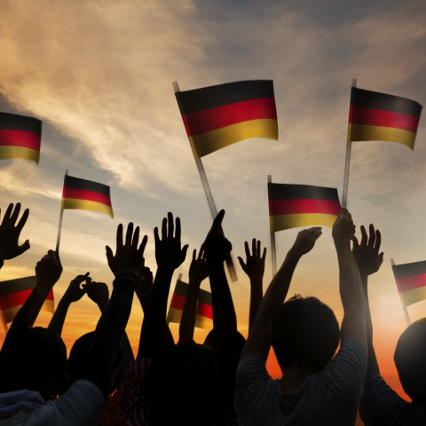 People Waving German Flag