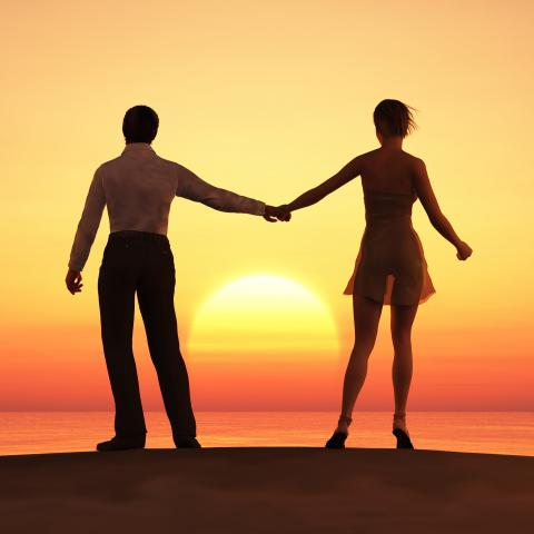 Silhouette of Couple Standing and Holding Hands