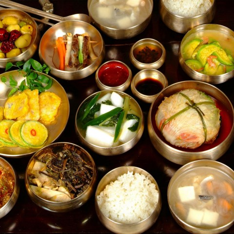 Korean Dishes In Silver Plates