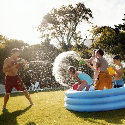 People Having a Water Fight