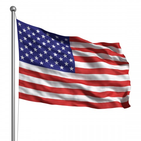 The United States Flag against a white background