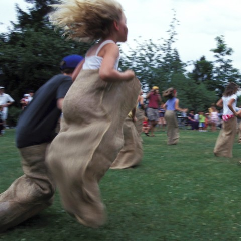 Having a Sack Race