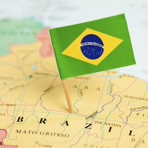 Brazil's Flag on Map of Brazil