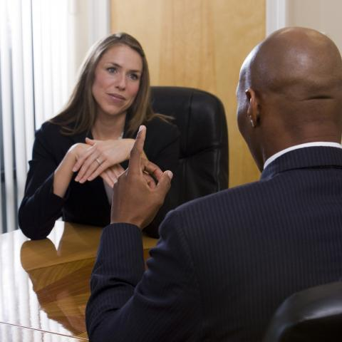 Man and Woman in a Business Meeting