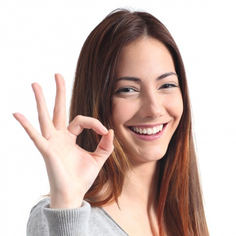 Woman Showing OK with One Hand