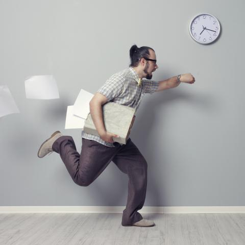 Man Running Late to Work