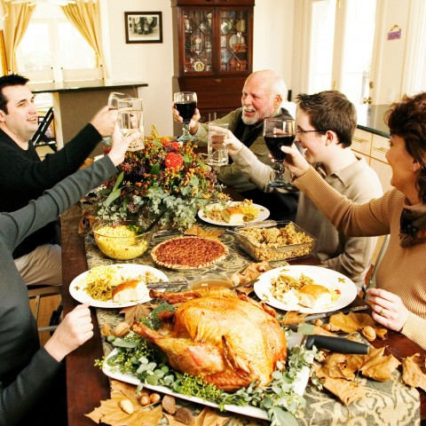 Family Enjoying Thanksgiving Meal Together