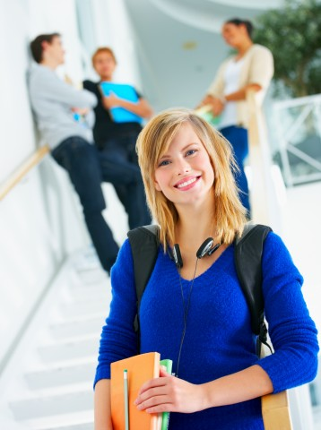 Woman Looking Relaxed at School