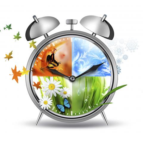 A Clock with the Four Seasons on the Face