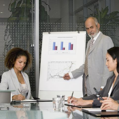 Businessman Giving a Presentation with a Whiteboard and Graph to Two Businesswomen