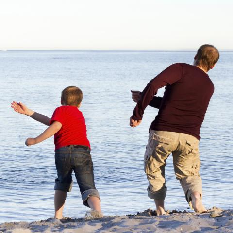 Father and Son Skipping Stones