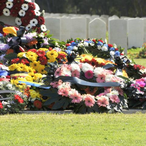 Flowers and Wreaths on Graves