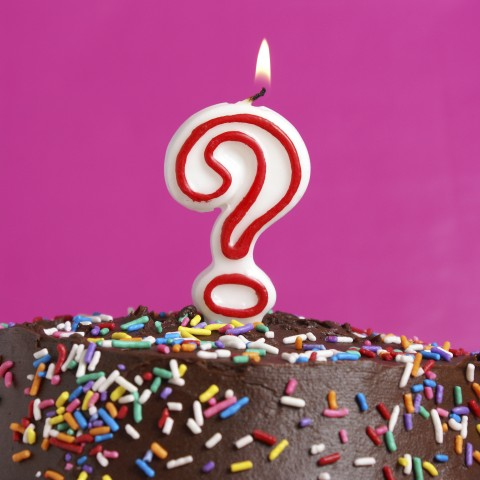 Birthday Cake with Question Mark Candle