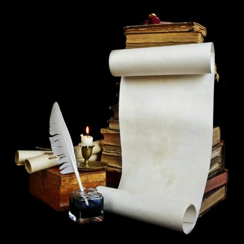 A Scroll and Ink Quill