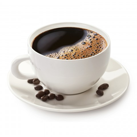 Coffee Mug on Plate with Coffee Beans