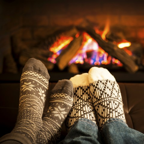 Couple Warming Up in Front of Fire