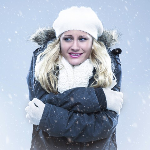 Woman with Winter Gear in Freezing Weather