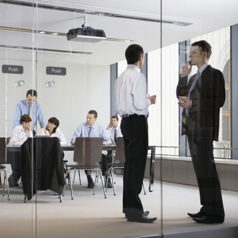 A Group of People in Business Gear, Sitting and Standing in the Glass Office