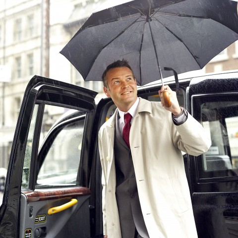 Man with Umbrella Rain