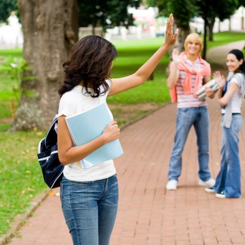A Girl with a Book and a Bag Waving Goodbye to Fellow Students.