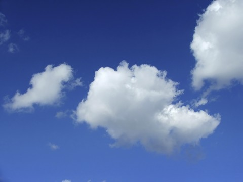 Fluffy White Cloud in Clear Blue Sky