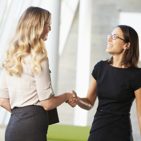 Two Businesswomen Exchanging a Friendly Handshake.