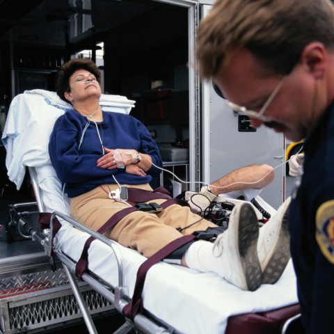 Injured Woman In An Ambulance