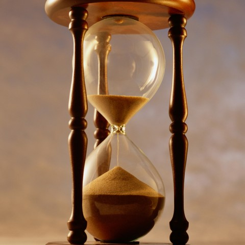 An hourglass with falling sand