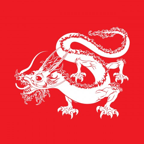 Dragon Image on Red Background