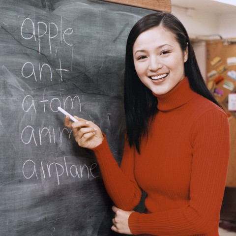 A Teacher and Blackboard