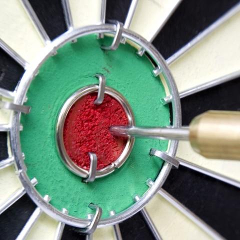 Bull's eye on a dartboard