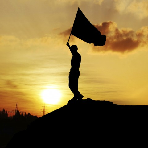 Silhouette of Person Carrying Flag