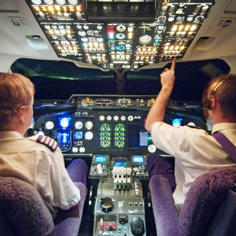 Pilots in Airplane