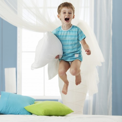 Kid Jumping on Bed, Excited