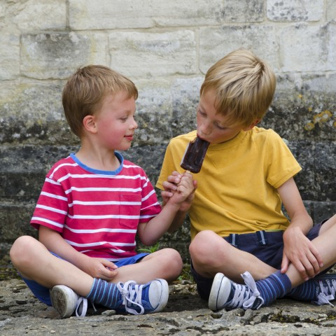 Two Children Eating an Ice Cream