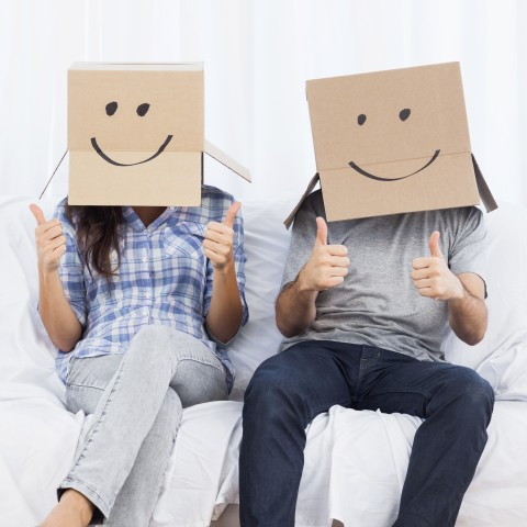 Two People Box Head with Smiley Face