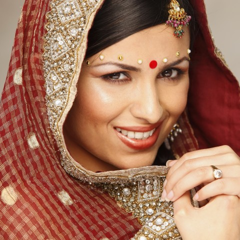 The Red-Colored Bindi Worn by a Woman