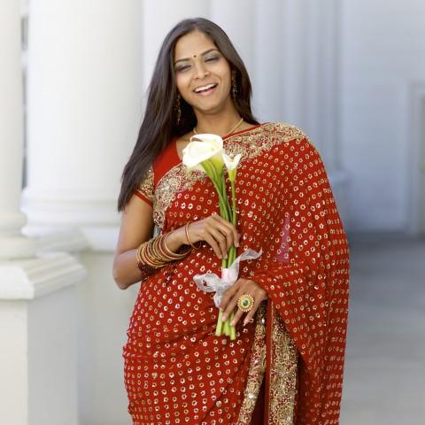 Bright Red Saree
