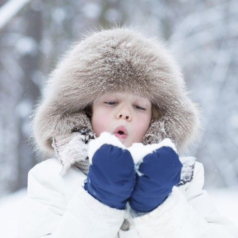 Child in Coat Holding Snow in Mittens