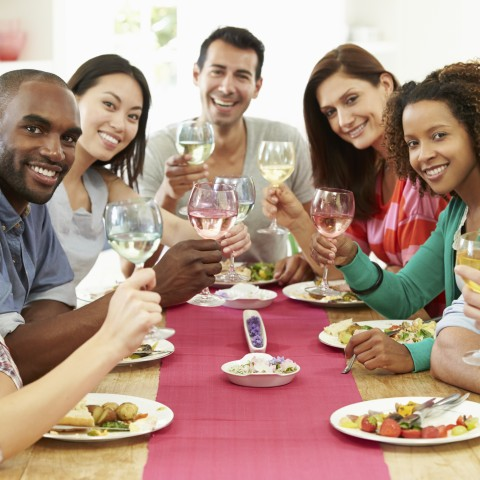 PEOPLE TOASTING BEFORE A MEAL