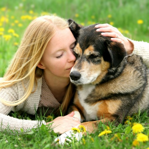 Woman Laying Next to Pet Dog in Field