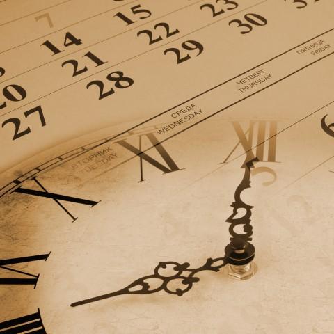A Vintage Clock and a Calendar