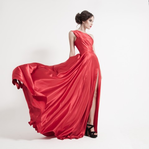 Woman in a billowing red dress