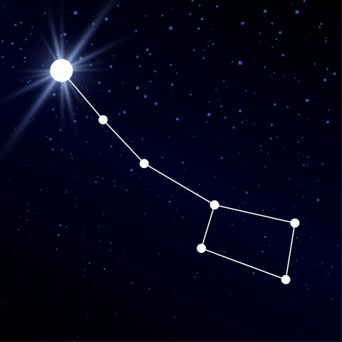 The North Star with the Big Dipper in a night sky