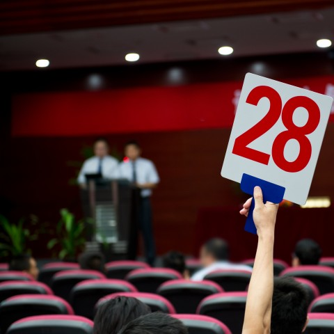 Man Holding Up Auction Sign with Number 28