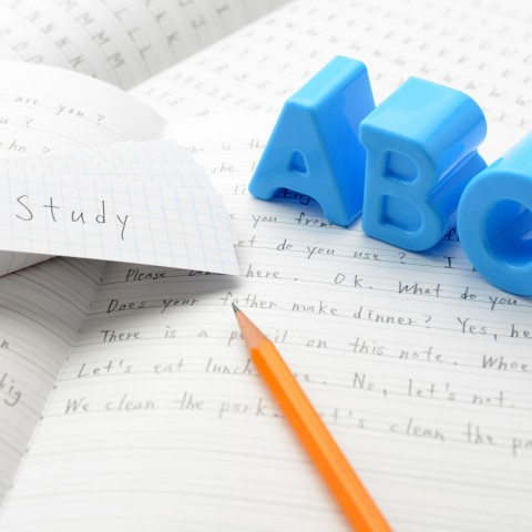 NOTEBOOK WITH PENCIL AND WRITING ABC