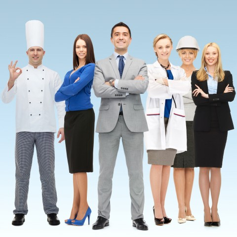 People Standing in Career-Related Gear, Such as a Chef, a Doctor, Office Worker Etc.
