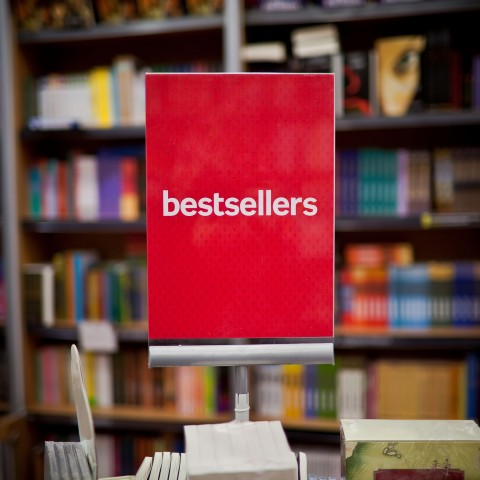Bookshop with Bestseller Stand in the Foreground